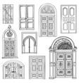door set collection of vintage hand drawn doorway vector image