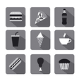 fast food icon set gray vector image