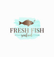 fish watercolor logo design on white background vector image