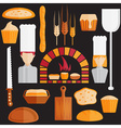 flat design icons of bakery theme vector image