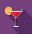 Flat design modern of cocktail icon with long vector image vector image