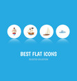 flat icon vessel set of yacht vessel boat and vector image vector image