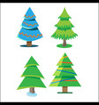 four christmas trees with different colors and vector image vector image