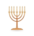 Gold Hanukkah menorah icon on white background vector image vector image
