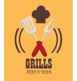 grills menu beef beer design isolated vector image vector image