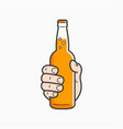 hand hold beer bottle male hand holding a beer vector image vector image