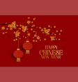 happy chinese new year red background with tree vector image