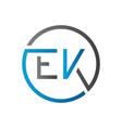 initial ek letter logo creative typography vector image vector image
