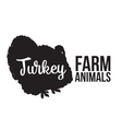 Isolated lettering farm turkey on a white vector image vector image