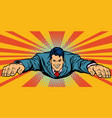 joyful businessman flying superhero vector image