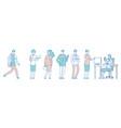 long queue people men women in social institution vector image vector image