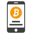 mobile bitcoin account flat icon symbol vector image