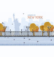 new york autumn flat style fall season vector image