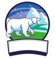 polar bear and ice nature background vector image
