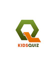 q letter icon for kids quiz education club vector image vector image
