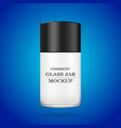 realistic white glass jar for cosmetics - spray vector image vector image