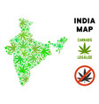 royalty free cannabis leaves style india map vector image