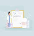 rx medical prescription drug doctors and pills vector image vector image