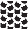 seamless pattern cat head silhouette vector image vector image