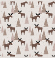 seamless pattern with elk in a wood vector image vector image