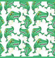 seamless pattern with green dinosaurs vector image vector image