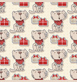 seamless pattern with the cute cat with gifts vector image