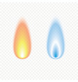set realistic candle fire flame vector image
