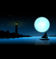 ship in the night of full moonblue ocean with vector image vector image