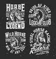 t-shirt prints horse stallion equestrian sport vector image vector image