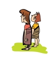 Two primitive boy back vector image vector image
