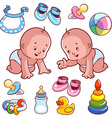Two toddler in diapers with baby items vector image vector image