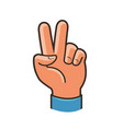 victory sign gesture two fingers raised up vector image