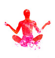 watercolor silhouette of a meditating man vector image vector image