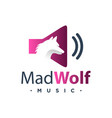 wolf music logo vector image vector image