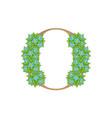 wooden leaves letter o vector image