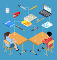 workplace of modern students isometric vector image