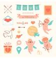 Valentines Day set of elements for design vector image