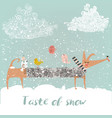 winter cute dog with birds vector image