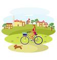 girl rides a bike vector image