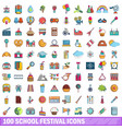 100 school festival icons set cartoon style vector image vector image