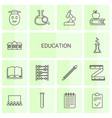 14 education icons vector image vector image