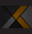 abstract yellow arrow on dark gray hexagon vector image vector image