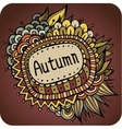 autumn floral and leaves card design vector image