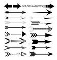 basic rgbset of eighteen black arrow icons vector image vector image