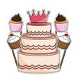 birthday cake and cupcakes vector image vector image