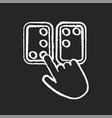 braille directions chalk white icon on black vector image