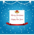 Christmas card in blue with a white tag golden vector image