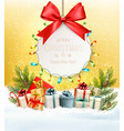 christmas presents with a gift card and a gift vector image vector image