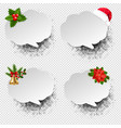 christmas speech bubble set transparent background vector image vector image