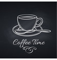 coffee cup on chalkboard vector image vector image